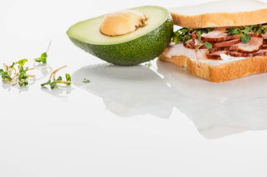 Fresh delicious sandwich with meat and sprouts on white surface near avocado stock vector