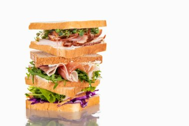 Fresh sandwiches with arugula and meat on white surface stock vector