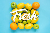 top view of fresh fruits on blue background, fresh illustration