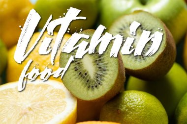 Close up view of kiwi halves on lemons and limes, vitamin food illustration stock vector