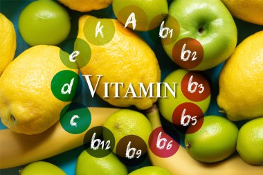 Top view of yellow lemons, bananas, green apples and limes, vitamins illustration stock vector