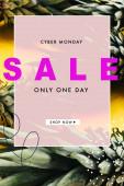 zelené ananasové listy na žlutém pozadí s kybernetické pondělí prodej ilustrace