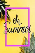 szelektív fókusz zöld ananász levelek sárga alapon oh nyári illusztráció