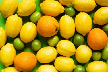 Top view of fresh ripe lemons, oranges and limes stock vector