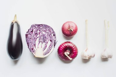 Flat lay with red onion, red cabbage, eggplant and garlic on white background stock vector