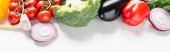fresh ripe colorful vegetables on white background, panoramic shot
