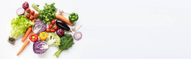 Top view of colorful assorted fresh vegetables on white background, panoramic shot stock vector