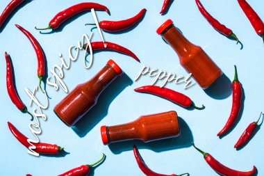 Top view of ripe chili peppers with tomato sauce in bottles near most spicy lettering on blue stock vector