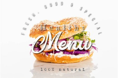 Tasty bagel near fresh, good and special lettering on white background stock vector