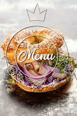 Fresh bagel with meat, red onion, cream cheese and sprouts near healthy menu lettering on textured grey surface stock vector