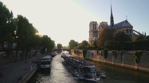 PARIS, FRANCE - AUGUST 7, 2018: Notre-Dame de Paris, France Cathedral, view from river bridge
