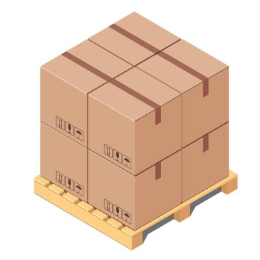 Cardboard boxes on wooden pallet isolated on white background - isometric vector illustration