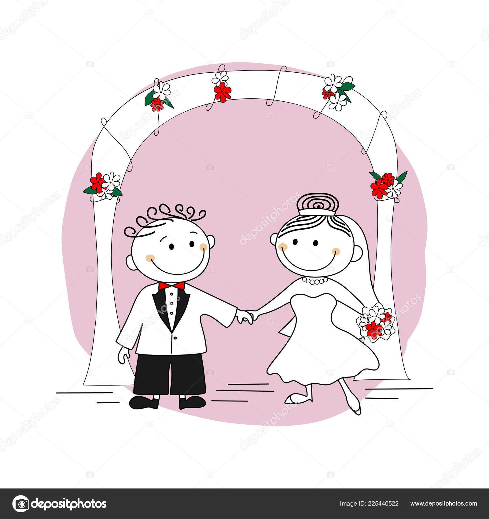 Niedliche Brautpaar Braut Und Brautigam Auf Dem Hintergrund Eines
