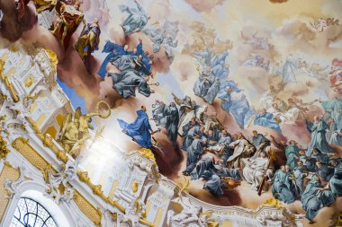 Frescos under the dome of Ettal Abbey (Kloster Ettal), a Benedictine monastery in the village of Ettal, Bavaria, Germany