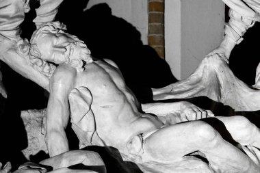 The Lamentation of Christ (Compianto sul Cristo morto), a sculptural group by Domenico Reti. San Francesco Basilica, Piacenza, Emilia-Romagna, Italy