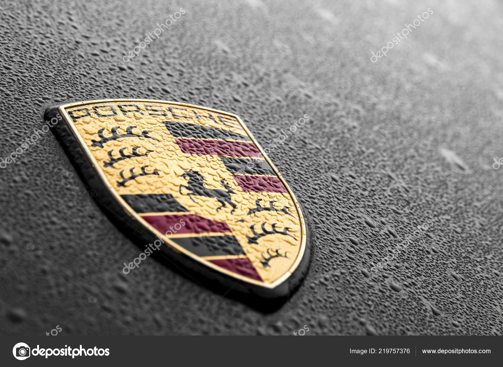 Porsche Logo Black Car Water Raindrops Stock Editorial Photo C Jqnoc 219757376