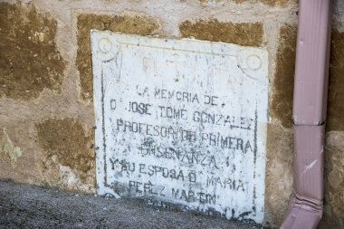 Peleas de Arriba, Spain. Commemorative plaque in the Church of Our Lady of the Assumption (Iglesia de la Asuncion)