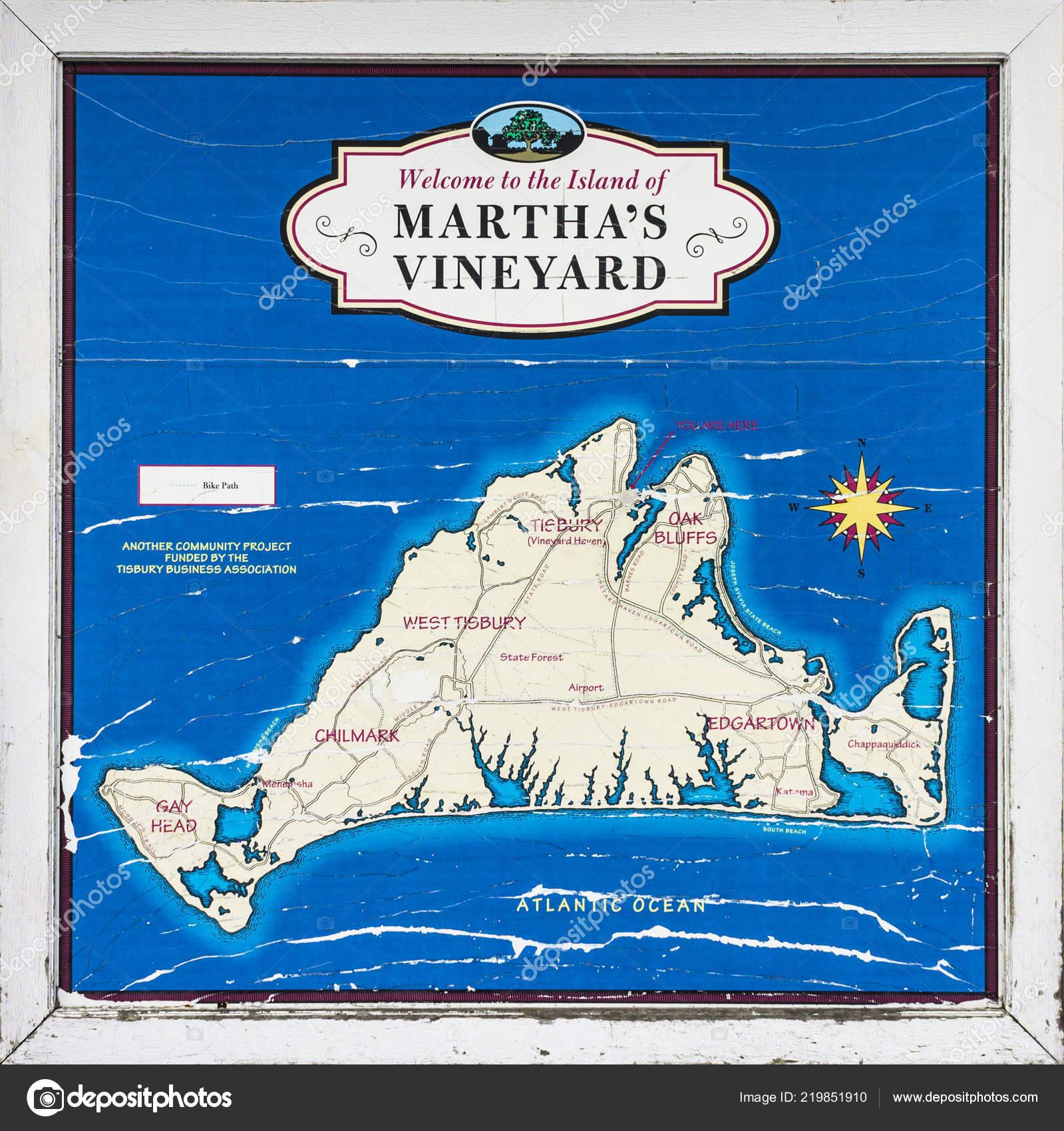 Map Martha Vineyard Machusetts Welcome Sign Island Ocean Blue ... on