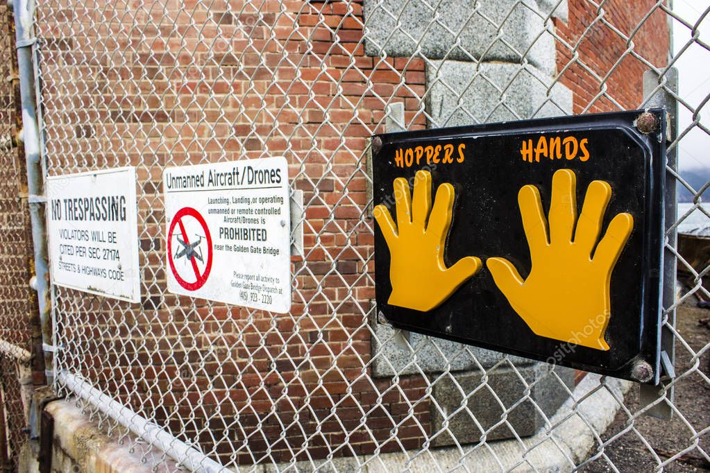 The Hopper's Hands sign for runners in Fort Point, San Francisco, California