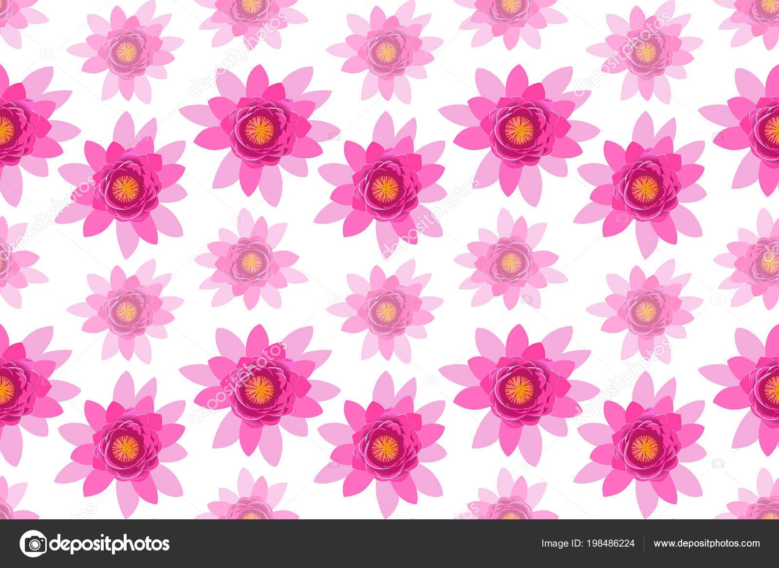 Beautiful Pink Lotus Flower Zigzag Blossom Seamless Pattern Isolated