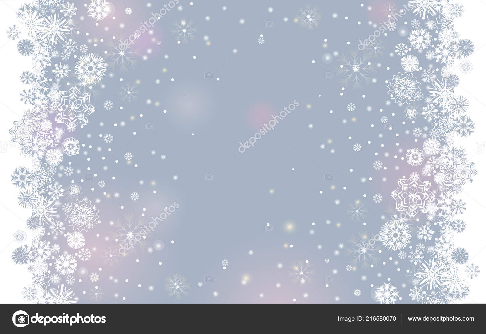 Falling Snow Border Light Tender Silver Grey Background