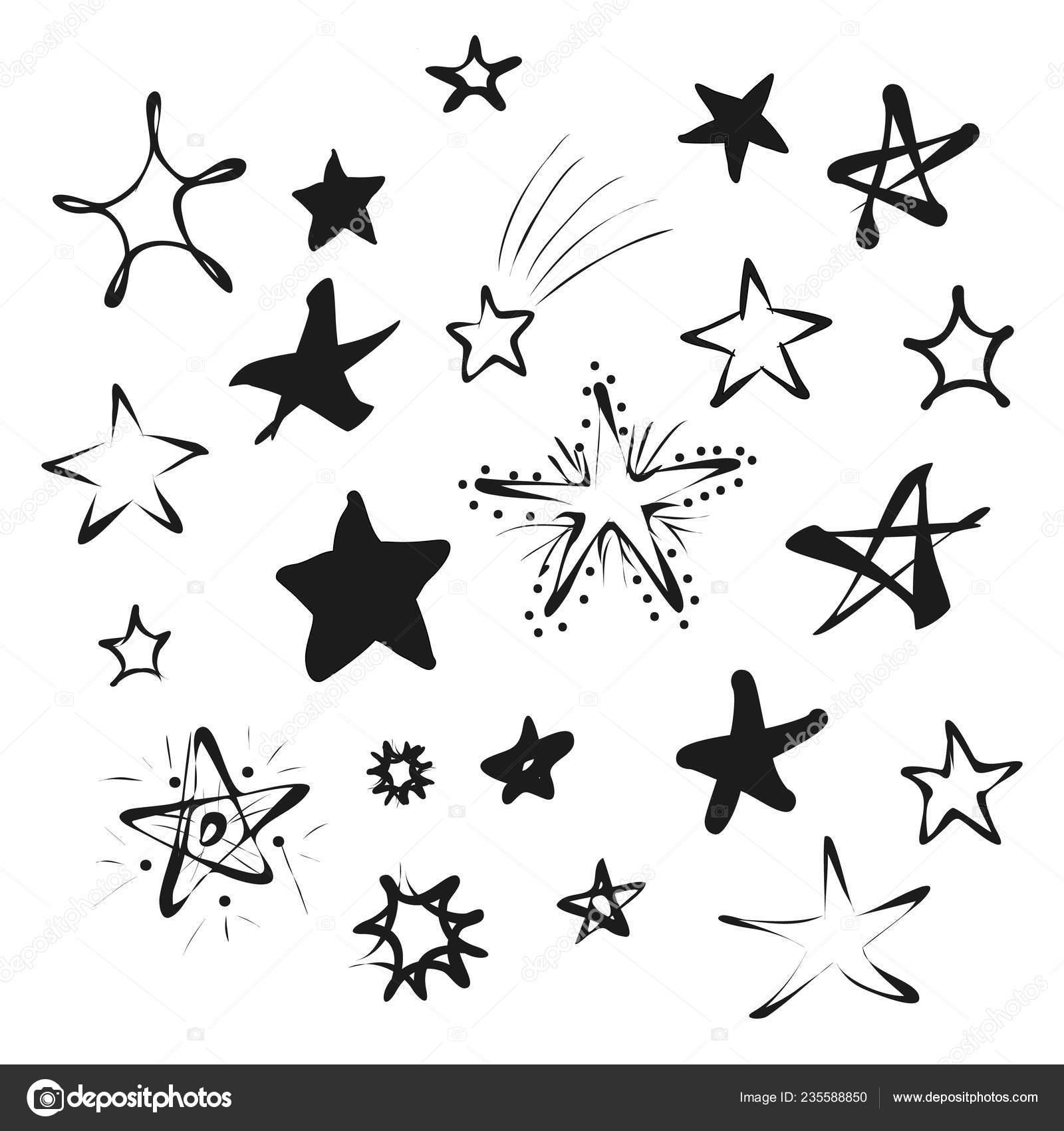 Doodle black stars icons isolated white background set hand