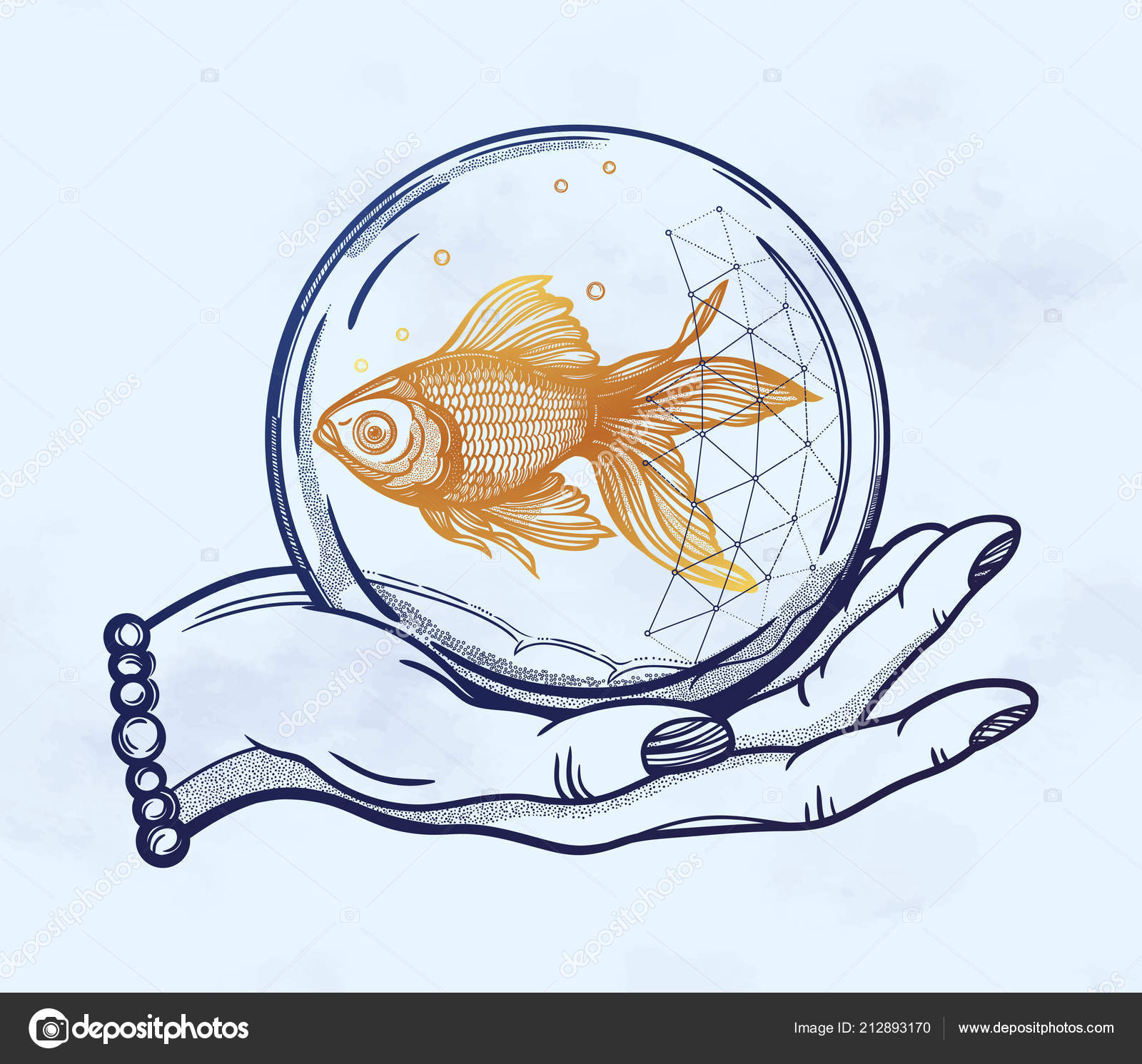 a923fd2121766 Traditional tattoo flash hand with goldfish — Stock Vector ...