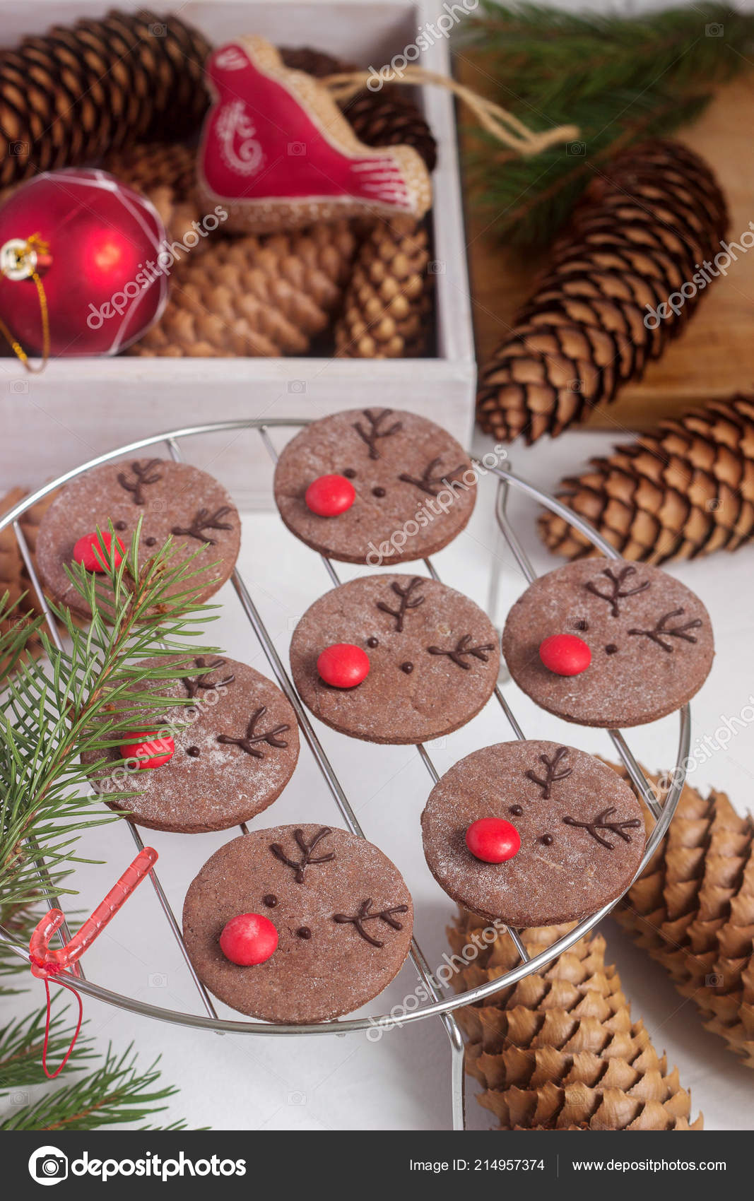 Chocolate Festive Cookies Form Deer Rudolph Red Nose Surrounded