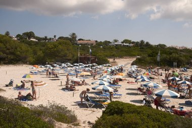 Minorca, Balearic Islands, Spain - September 06, 2013 : Tourists in Torret, Minorca