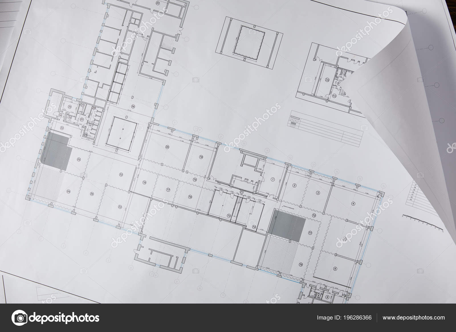 View architectural blueprint white paper stock photo view architectural blueprint white paper stock photo malvernweather