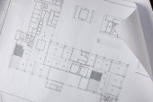 view from above of architectural blueprint on white paper