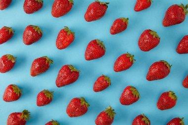 full frame of arranged fresh strawberries isolated on blue