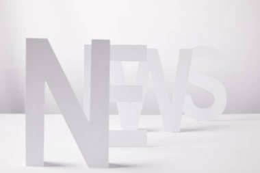selective focus of word news made of paper letters, on white background