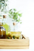 close up view of jar with green olives, bottles of aromatic olive oil with and branches on wooden tray