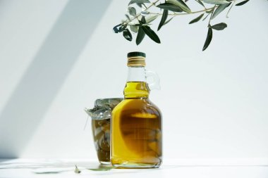 Bottle of aromatic olive oil, branches and jar with green olives on white table stock vector