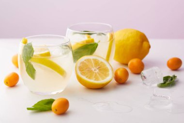 two glasses of lemonade with mint leaves, ice cubes and lemon slices surrounded by kumquats and lemons on purple background