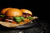 Sada nezdravé potraviny s horké lahodné hamburgery na dřevěné desce