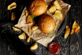 Fotografie Sada junk food hamburgery a smažené brambory na kraftový papír