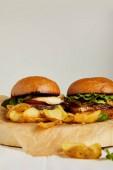 Fotografie Horká hamburgery a hranolky podávané na kraftový papír