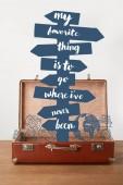 Nyitott vintage bőrönd, használja a nyílbillentyűket és a betűk - a kedvenc dolog-hoz megy, ahol még soha nem volt