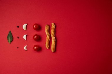food composition of tasty tomatoes, garlic and bread sticks on red table