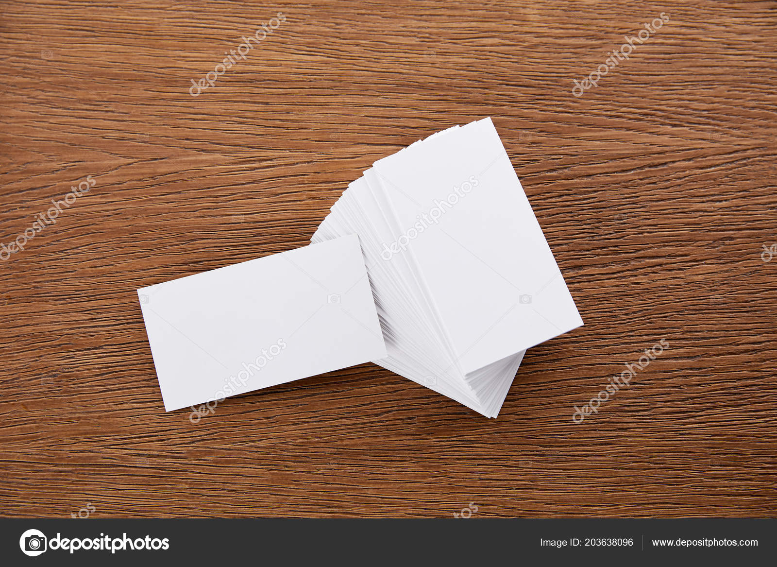 Close view stack blank business cards wooden table stock photo close view stack blank business cards wooden table fotografia de stock reheart Gallery