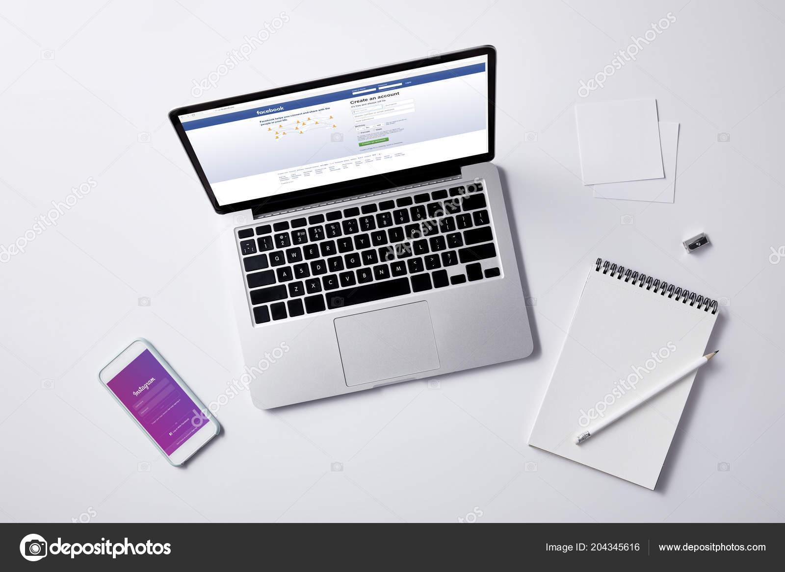 Top View Laptop Facebook Website Screen Smartphone Instagram App
