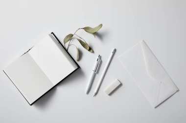top view of opened blank notebook with green leaves and envelope on white surface for mockup