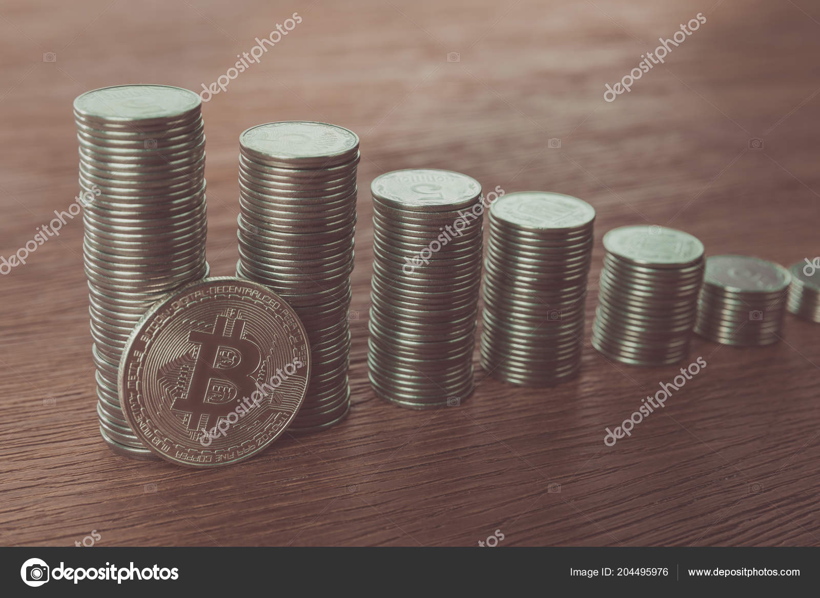 Bitcoin Stacks Coins Tabletop Saving Concept – Stock