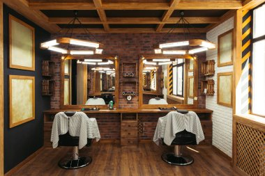 modern empty barbershop interior with chairs, mirrors and lamps