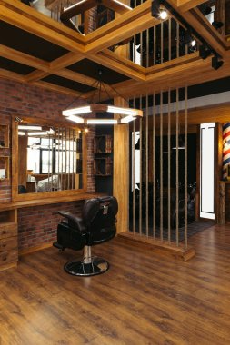 modern interior in empty stylish professional barbershop