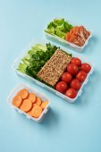 close up view of arrangement of food containers full of healthy vegetables, meat slices and cookies on blue backdrop