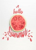 Fotografie top view of fresh watermelon slice isolated on white, hello summer lettering with drops