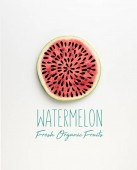 Fotografie top view of fresh watermelon slice with seeds illustration and watermelon fresh organic fruits lettering